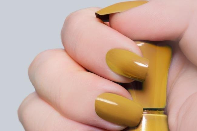 Mustard yellow nails
